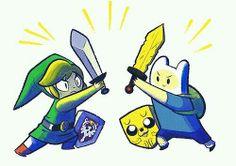 Link vs Fin and Jake. #Zelda #AdventureTime LINK FTW!