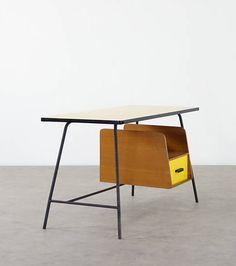 Pierre Paulin; Formica, Oak and Enameled Metal Desk, 1950s.