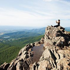 """Great Overlooks in Shenandoah: 1) Bearfence Mountain and the Hawksbill Summit Trail. 2) For a more easily accessible spot, the Hawksbill Summit Trail parking area. 3) Buck Hollow. """"It's only a few minutes' walk from the Thornton Gap entrance to the park. 4) Brown Mountain Overlook."""