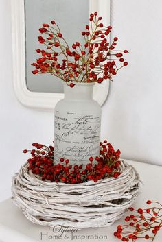 Christmas Winter Decoration with Berries & White