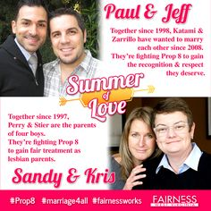 "FEATURE: In the second post in Fairness WV's ""Summer of Love"" series on LGBT stories of love, meet the plaintiffs of Hollingsworth v. Perry.    Paul Katami and Jeff Zarrillo have been together since 1998. They live in Burbank, California. Sandy Stier and Kris Perry have been together since 1997 and are the parents of four boys. They live in Berkeley, California.    Info & Video Credit: American Foundation for Equal Rights"