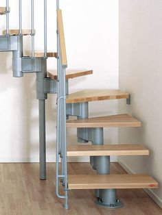 "Arke Kompact Grey 35 in. Modular Staircase ""L"" - The Home Depot Small Space Staircase, Modular Staircase, Staircase Design, Spiral Staircases, Stair Kits, Stair Gallery, Rustic Stairs, Stair Lighting, Stair Storage"