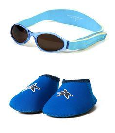 Yoccoes Paquet Cadeau Lunettes de Soleil bébé Bleu Aqua BabyBanz 0-2 Ans Et  Chaussons d95383dcd321