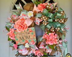 WREATH SALE Spring Wreath Deco Mesh Wreath by BlossomShopWreaths