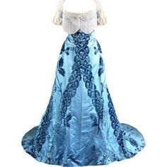 edited by Satinee ❤ liked on Polyvore featuring dresses, gowns, long dress, costume, blue dress, blue gown, blue evening dresses, long blue dress and blue ball gown