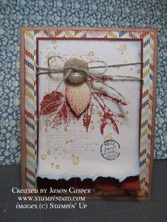 Shabby Card...with torn paper edges & twine.