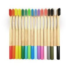 UNTIOR Bamboo Toothbrush Colorful Head Natural Eco-friendly Anti Bacterial Oral Care Soft Bristle Toothbrush for Kids Adult Makeup Wipes, Cotton Swab, Ear Cleaning, Teeth Care, Health Advice, Zero Waste, Biodegradable Products, Keep It Cleaner, Manualidades