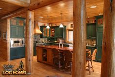 Log Cabin Homes from Golden Eagle Log and Timber Homes: Photo Gallery Prefab Log Homes, Log Cabin Homes, Log Cabins, Log Cabin Living, Small Log Cabin, Mountain House Decor, Mountain Cabins, Log Home Kitchens, Sweet Home Design
