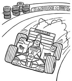 F1 Track Racing Coloring Page - Formula 1 car coloring pages