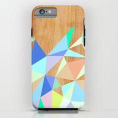 """""""Wooden Geo Aqua"""" iPhone 6 Tough Case by House Of Jennifer on Society6."""