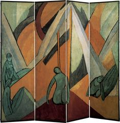 Vanessa Bell, Tents, 1913. -           One of Vanessa Bell's painted Omega screens—a Matissian composition of languorous nudes among triangular  forms suggesting tents—was inspired by her experience of a Neo-Pagan camping expedition....