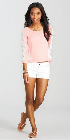 Lace Inset Long-Sleeve