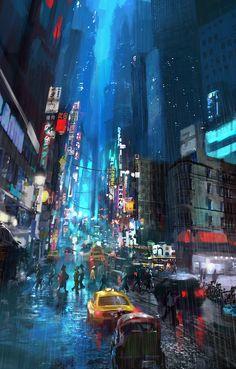 Blue City, Miguel Angel Camacho on ArtStation at https://www.artstation.com/artwork/GE2da