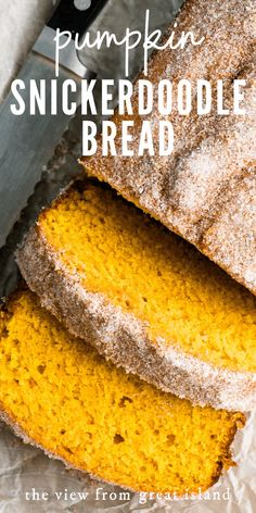 My Pumpkin Snickerdoodle Bread ~ it's your favorite classic pumpkin bread crossed with a soft, spicy snickerdoodle cookie. Pumpkin Chocolate Chip Bread, Pumpkin Bread, Pumpkin Recipes, Fall Recipes, Scones, Delicious Desserts, Dessert Recipes, Brunch Recipes, Bread Recipes