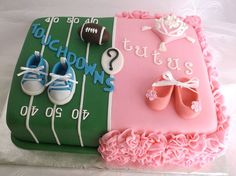 Touchdowns or Tutus Cake. A gender-reveal ...