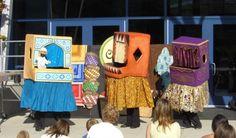 Amazing walk around puppet theater design.