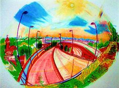 "A gorgeous sketch by a.rmyth via the Urban Sketchers Flickr group ""Vincennes Roadway to Paris""  I love how the perspective is skewed and round - like a fisheye lens (I think that's the right term!)"