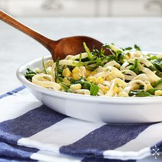 Fettuccine & Sweet Corn Cream Pasta - Vegan & Vegetarian