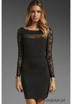 Elegancka czarna sukienka z koronkowym wykończeniem  Kobieca sukienka z koronkowym wykończeniem