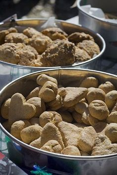 How to Make Healthy Homemade Dog Treats....a great way to use the jars of chicken and beef baby food that are building up. I suggest using chicken bouillon instead of salt to add flavor.