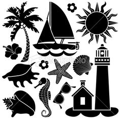 seaside icons Royalty Free Stock Vector Art Illustration