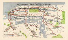"Antique Subway Map of New York City (1924) - 19""x32.2"" - Archival Print. $52.00, via Etsy."