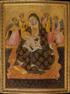 PIETRO DI DOMENICO DA MONTEPULCIANO Madonna and Child with Angels  1420 Tempera on wood, gold ground, 88 x 67 cm (with engaged frame) Metropolitan Museum of Art, New York  This panel is notable for the refinement of its tooled and freehand work on the gold ground. It survives intact with its original engaged frame decorated with a continuous flower pattern and the artist's signature.