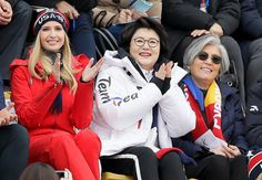 Feb. 24 Olympics Highlights in Photos: US Takes Gold in Men's Curling, Silver in Big Air - NBC 5 Dallas-Fort Worth - Ivanka Trump, left, sits with Kim Jung-sook, wife of the South Korean President and South Korean Foreign Minister Kang Kyung-wha, right, during the men's Big Air snowboard competition at the 2018 Winter Olympics in Pyeongchang, South Korea, Saturday, Feb. 24, 2018.