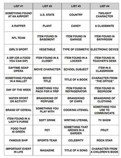 Vocabulary Categories Comparison Activity ANY. by Tracee Orman Pictionary Word List, Scattergories Lists, Youth Group Activities, Speech Therapy Activities, Senior Activities, Enrichment Activities, Family Party Games, Family Game Night