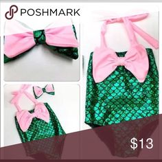 Green/Pink mermaid swimsuit Pink and gold mermaid swimsuit• size 4• ties around the neck• comes with a matching headband• have multiple sizes available up to size 5 Boutique Swim One Piece