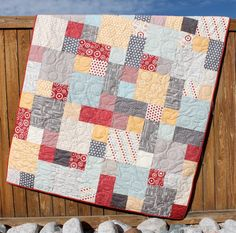 Hometown Lap Quilt Americana Blue Red Gray Yellow Throw