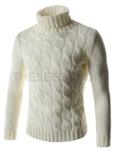 I have this one, super comfy an cozy   Mens Slim Stretchy Turtle Neck Front Twist Knitted Long Sleeve Tshirts
