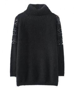 Shoulder Lace Split Joint High-necked Sweater - black