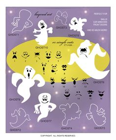DIGITAL DOWNLOAD ... Ghost Face Vector Art Wall Graphics for Halloween in AI, EPS, GSD, and SVG formats @ My Vinyl Designer #ghosts