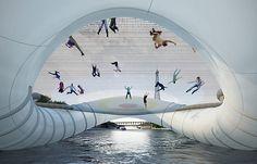 Inflatable trampoline bridge in Paris
