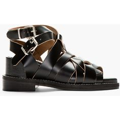 Acne Studios Black Leather Woven Lenna Sandals ($550) ❤ liked on Polyvore featuring shoes, sandals, ankle strap shoes, leather sandals, leather wedge sandals, leather strap sandals and ankle strap high heel sandals