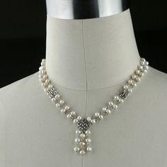 Bridal Pearl necklace beaded choker irish knot fashion