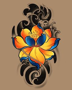 Lotus Tattoo Design, Floral Tattoo Design, Flower Tattoo Designs, Flower Tattoos, Japanese Koi Fish Tattoo, Japanese Tattoo Designs, Japanese Sleeve Tattoos, Time Tattoos, Star Tattoos