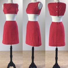 1960's Red & White Polka Dot Play Set with Crop Top and Matching High Waisted Skirt | Junior House | Size Small by VeraciousVintageCo on Etsy