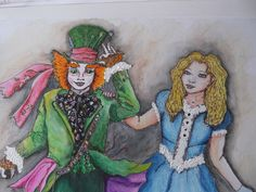 Painted for a friend who loves Alice in Wonderland... and Tim Burton too. by Jane Humphrey