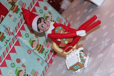 Have your elf bake gingerbread houses and men for your children! Elf on the shelf gingerbread houses.