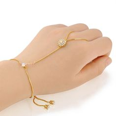 Zircon & Crystal Yellow Charm Hand Chain Bracelet 18k Gold Plated by…