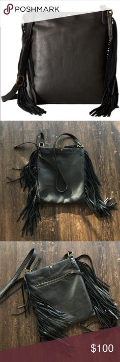 Lucky Brand Rickey crossbody fringe bag New without tags. Black leather bag only used once. Gorgeous quality! Lucky Brand Bags Crossbody Bags