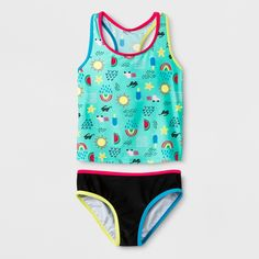 e4cefbd8a8 Girls  Sunsation Tankini Set - Cat  amp  Jack Blue M Plus Two Piece  Swimsuits