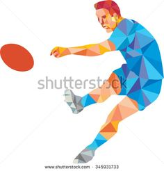Low polygon style illustration of a rugby player kicking ball front view on isoalated white background. Polygon Art, Rugby Players, Royalty Free Images, Fashion Art, Disney Characters, Fictional Characters, Illustration, Design, Style
