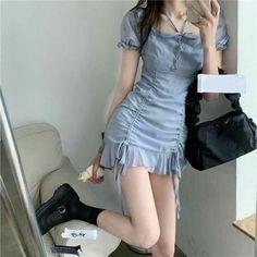Korean Fashion Dress, Korean Fashion Summer, Ulzzang Fashion, Korean Outfits, Fashion Dresses, Fashion Fall, Fashion Men, Fashion Trends, Cute Casual Outfits