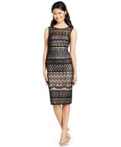 Vince Camuto Embellished Lace Sheath Dress-$188.00