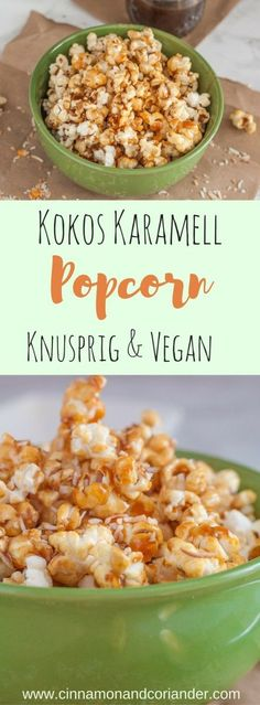 Crispy Coconut Caramel Popcorn Vegan and Dairy Free. My Crispy Coconut Caramel Popcorn with homemade Coconut Caramel is vegan and dairy free! It is the perfect TV snack – so easy to make and it stays crispy for days! Raw Vegan Desserts, Vegan Dessert Recipes, Delicious Vegan Recipes, Vegan Sweets, Vegan Snacks, Easy Snacks, Dairy Free Recipes, Vegetarian Recipes, Snack Recipes