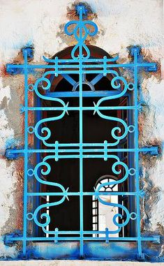 Wrought Iron window grill, window guard, Irish Iron Serving Sacramento CA.Pattern design - sort of Asian/Moroccan inspired Iron Windows, Windows And Doors, Blue Dream, Les Doors, Architecture Unique, Window Bars, Window Grill, Art Deco, Iron Work