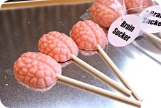 Brain Suckers for a Mad Science Birthday Party (updated with a link on where to buy the mold) birthday halloween party Birthday Party Goodie Bags, Zombie Birthday Parties, Zombie Party, Halloween Birthday, Halloween Treats, 7th Birthday, Birthday Ideas, Mad Science Party, Mad Scientist Party